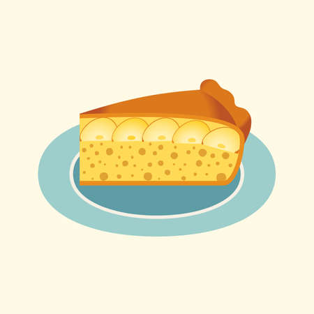 Homemade Apple Pie Slice on plate flat vector icon