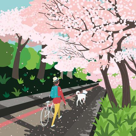 Blooming cherry trees garden relax vector poster 向量圖像