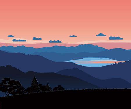 Mountains Valley Red Sky Sunrise Landscape Scene 向量圖像