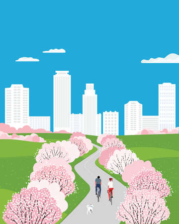 Blooming cherry city park outdoor activity poster 向量圖像