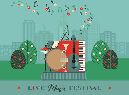 Live Music Outdoor Festival Poster Template 向量圖像