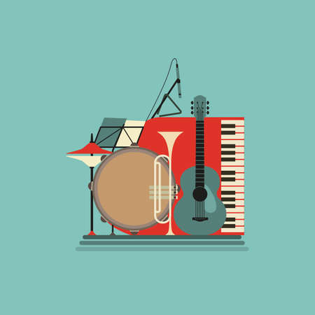 Musical instruments flat color vector icon 向量圖像