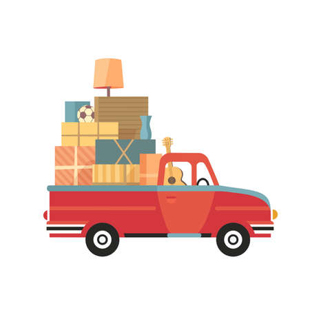 Moving Truck Service flat color vector icon