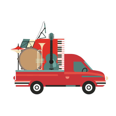 Musical instruments on Pickup Truck vintage icon