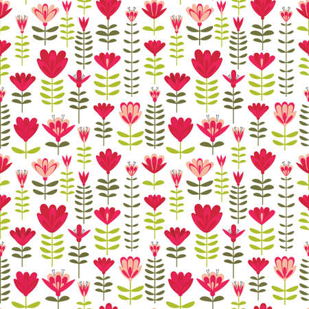 Floral blooms hand drawn vertical vector pattern 向量圖像