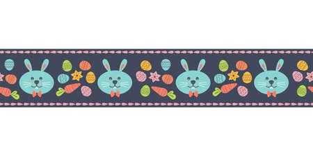 Easter Bunny Funny Holiday seamless vector ribbon 向量圖像