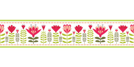 Floral blooms hand drawn vertical vector ribbon