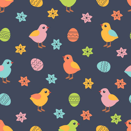 Easter Eggs Chicken Cute Holiday seamless pattern
