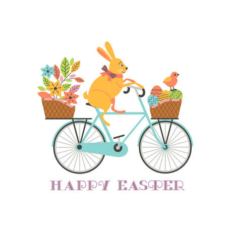 Cute Easter Rabbit on Bicycle with Eggs in basket 向量圖像