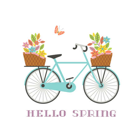 Retro blue bicycle with flowers in baskets icon