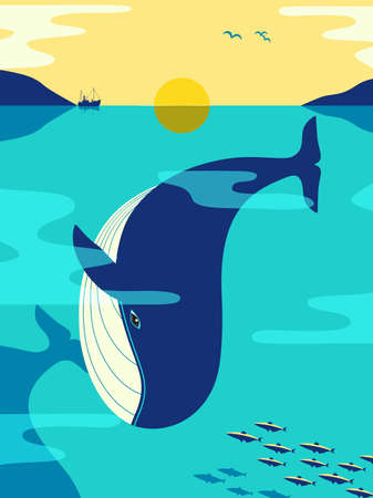 Blue Whale in ocean minimalist flat color vector