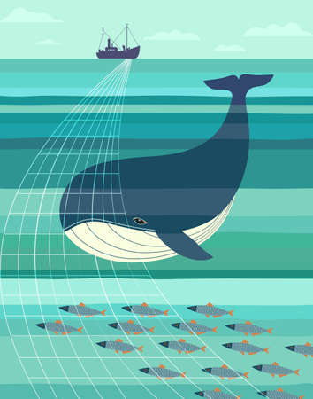 Blue Whale and fishes smim to Trawler Net vector