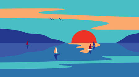 Seaside Sunset Minimalist Style flat color vector