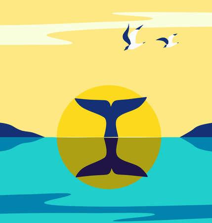 Whale Tail at Ocean Sunrise minimalist flat vector
