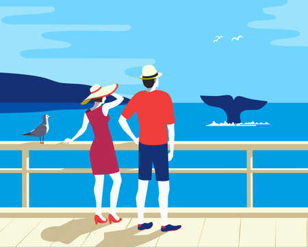 Whale Tail in Ocean Watching Tourism flat vector 向量圖像