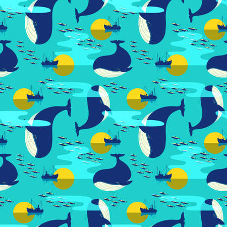 Blue Whale in Ocean Decor seamless vector pattern