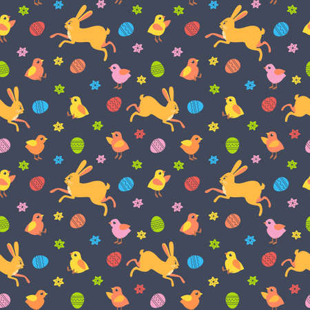 Easter Bunny and Chicken Cute seamless pattern