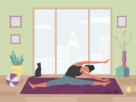 Young woman training yoga stay at home vector 向量圖像