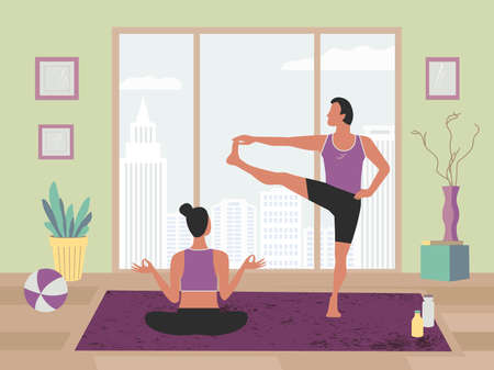 Couple Fitness Training at Home flat color vector