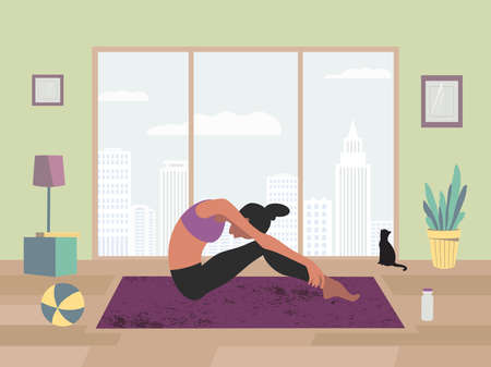 Female Stretching Training at Home flat color vector. Stay home wellness meditation practice cute cartoon. Breathing exercise workout background. Healthy indoor morning fitness activities illustration Иллюстрация