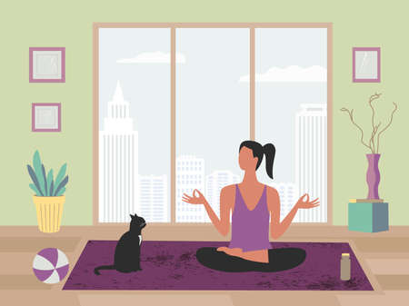 Women exercising yoga at home flat color vector. Stay at home yoga meditation practice cartoon. Breathing exercise workout background. Healthy lifestyle indoors morning fitness activities illustration Иллюстрация
