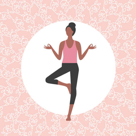 Female Yoga Pose Simple icon on floral background