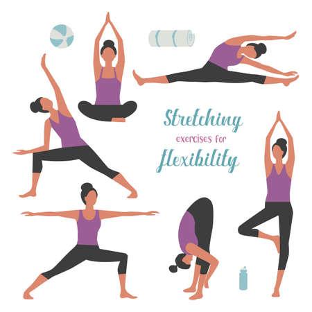 Stretches Exercising Female simple icon set