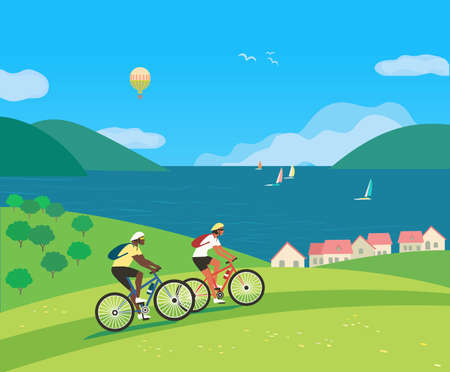 Couple Travelling by Bycicles on Seaside vector