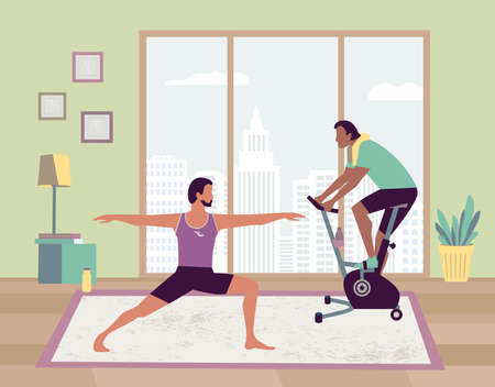 Couple indoor home physical activity flat vector