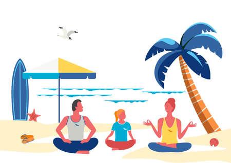 Family yoga training on seaside beach simple style 向量圖像