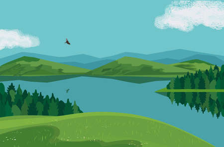 Forest on mountain river landscape background vector