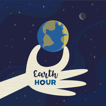 Earth Hour day social simple vector poster