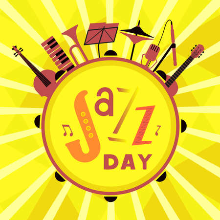 Jazz Day colorful icon with music instruments
