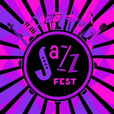 Jazz Fest neon color icon with Musical instruments 向量圖像