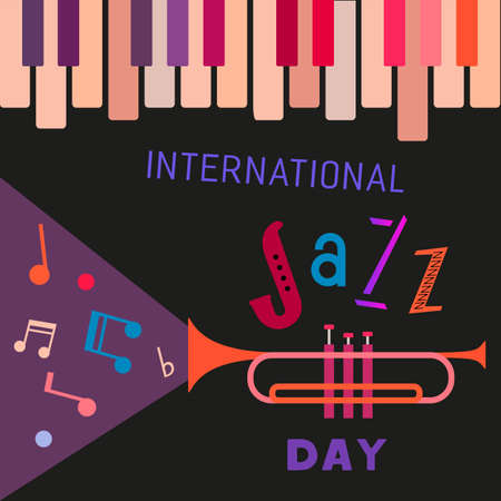 International Jazz Music Day colorful fancy poster