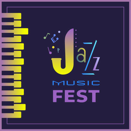 Jazz Music Fest colorful vector poster template