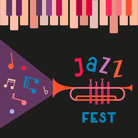 Jazz Music Fest Vintage Vector poster template
