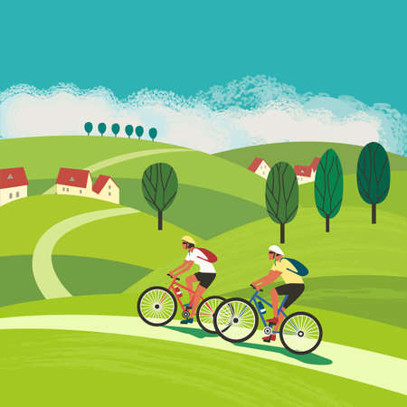 Couple Ride Bicycles on Rural Countryside vector