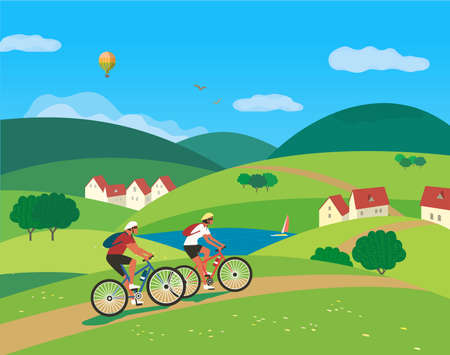 Couple Ride Bicycles on Rural Landscape vector 向量圖像