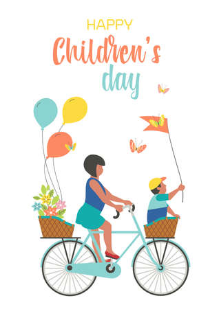 Happy Childrens Day Cute Greeting Card vector illustration. Kids ride bicycle fancy cartoon design background. Baby girl, boy enjoy holiday celebration bicycling together. Funny child play together