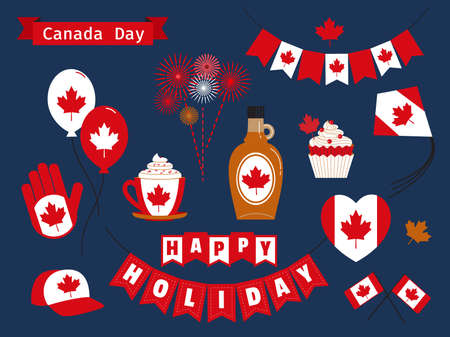 Happy Canada Day holiday vector icons set. Canadian symbols collection pack flat style illustration. Maple leaf, syrup, flag, heart, balloon design elements. July 1 National Day of Canada decoration