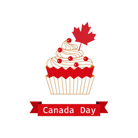 Canada Day Cupcake with red maple leaf flat color vector. Canadian national holiday celebration background. Maple leaf, sweet dessert food cupcake minimal style design element in Canada flag colors Иллюстрация