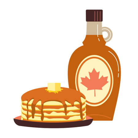 Maple syrup topping on pancakes flat color vector icon. Fresh tasty hot pancakes, sweet maple syrup glass bottle cartoon design element isolated on white background. Dessert food sign illustration Иллюстрация