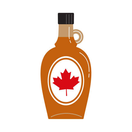 Canadian Maple Syrup glass bottle flat color vector icon. Sweet natural topping cartoon design element isolated on white background. Delicious golden dessert liquid food from maple tree illustration Иллюстрация