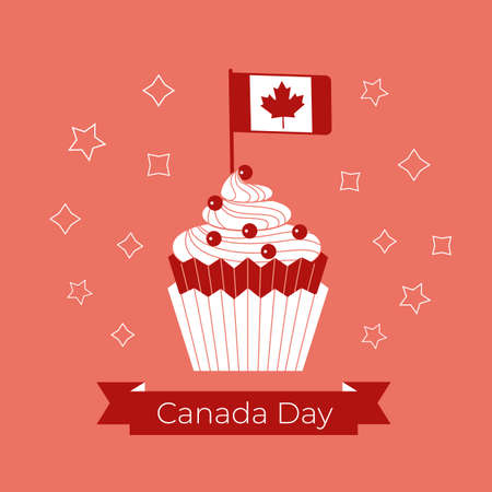 Canada Day Cupcake and flag vector greeting card. Canada day test on red ribbon. Canadian flag with maple leaf in cupcake cartoon illustration. 1st July festive event celebration decorative background