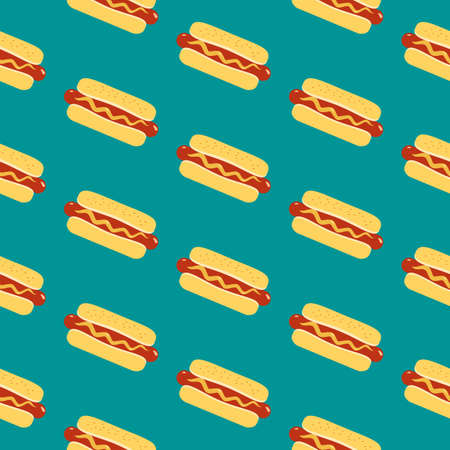 Hot Dog sign vector seamless pattern background. Fried sausage in bun, mustard cartoon design element. Fast food icon on blue background decorative wallpaper illustration. Hot Dog Day holiday template