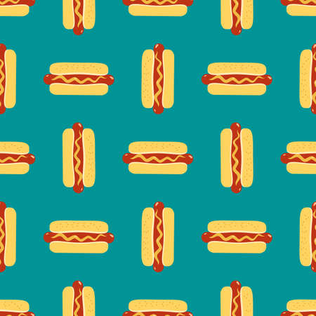 Hot Dogs sign vector seamless pattern background. Fried sausage in bun, mustard cartoon design element. Fast street food icon on blue background wallpaper illustration. Hot Dog Day holiday template Иллюстрация