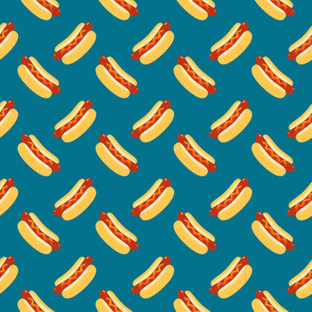 Hot Dog vector seamless pattern background. Fried sausage in bun, sesame seeds, mustard, ketchup cartoon design element. Fast street food snack wallpaper illustration. Hot Dog Day template background