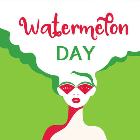 Watermelon Day poster. Fancy Hand drawn cartoon design element. Beautiful young woman with red watermelon sunglasses retro pop art style. Summer national holiday banner template vector illustration