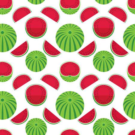 Watermelons geometric vector pattern seamless pattern background. Watermelon fruit slice cartoon design element illustration. Summer sweet berry decorative ornate wallpaper, flat color print template